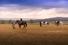 Het berijden van paarden op de arena met trainers en jonge geitjes stock afbeeldingen