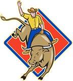 Het Berijdende Beeldverhaal van de Stier van de Cowboy van de rodeo vector illustratie