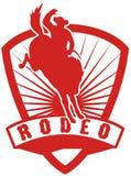 Het berijdende bucking wild paard van de cowboy vector illustratie