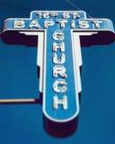 Het beroemde blauwe teken van de Zestiende Straat Baptist Church - Birmingham, Alabama stock fotografie