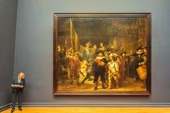 Het beroemde het schilderen Nachthorloge door Rembrandt in Rijksmuseum Stock Afbeelding