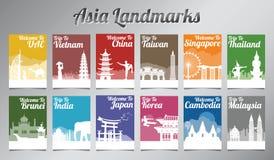 Het beroemde oriëntatiepunt van Azië in silhouetontwerp met multikleurenstijl royalty-vrije illustratie