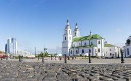 Het Beroemde Oriëntatiepunt van Minsk Kathedraal van Heilige Geest in Minsk Orthodoxe kerk van Wit-Rusland en symbool van Kapitaa stock foto's