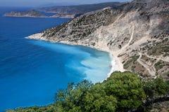 Het beroemde strand Myrtos van Kefalonia Royalty-vrije Stock Foto's