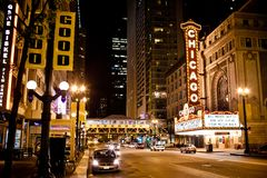 Het beroemde Theater van Chicago in Chicago, Illinois. Stock Foto