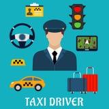Het beroeps vlakke pictogrammen van de taxibestuurder Stock Foto's