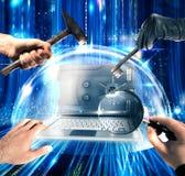 Het beschermde computer 3d teruggeven Stock Foto