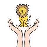 Het beschermen van bedreigde leeuw Stock Fotografie