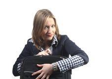 Het beschermen van haar bagage Stock Foto
