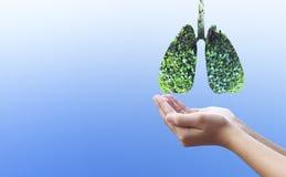 Het beschermen van het longenconcept: het beschermen van het natuurlijke milieu stock afbeeldingen