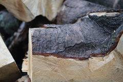 Het besnoeiingsbrandhout in koffie wordt gestapeld die unfocused royalty-vrije stock afbeeldingen