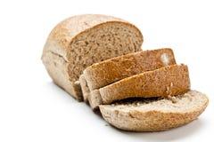 Het besnoeiingsbrood van brood met bezinning op wit wordt geïsoleerd dat Stock Afbeeldingen
