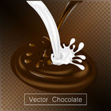 Het bespatten en de vloeistof van de van de roeschocolade en melk voor ontwerpgebruik isoleerden 3d illustratie stock illustratie