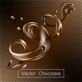 Het bespatten en roeschocoladevloeistof voor 3d illustratie van het ontwerpgebruik Royalty-vrije Stock Afbeeldingen