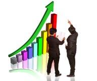 Het bespreken van de grafiek van de marktgroei Royalty-vrije Stock Foto