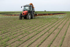 Het bespuitende gebied van de sojaboon met tractorspuitbus stock fotografie