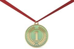 Het bestaan uit een jade en een gouden medaille Stock Afbeelding