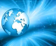 Het beste Concept van Internet globale zaken Bol, gloeiende lijnen op technologische achtergrond Elektronika, WiFi, stralen Stock Fotografie