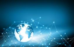 Het beste Concept van Internet globale zaken Bol, gloeiende lijnen op technologische achtergrond Elektronika, WiFi, stralen Royalty-vrije Stock Foto's