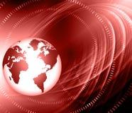 Het beste Concept van Internet globale zaken Bol, gloeiende lijnen op technologische achtergrond Elektronika, WiFi, stralen Royalty-vrije Stock Afbeelding
