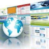 Het beste Concept van Internet globale zaken Bol, gloeiende lijnen op technologische achtergrond Elektronika, WiFi, stralen Stock Afbeelding