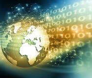 Het beste Concept van Internet globale zaken Bol, gloeiende lijnen op technologische achtergrond WiFi, stralen, symbolen Stock Foto