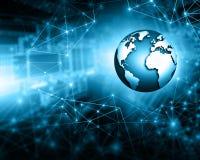Het beste Concept van Internet globale zaken Bol, gloeiende lijnen op technologische achtergrond WiFi, stralen, symbolen Stock Afbeelding