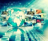 Het beste Concept van Internet globale zaken Bol, gloeiende lijnen op technologische achtergrond WiFi, stralen, symbolen Stock Fotografie