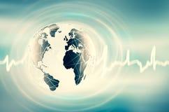 Het beste Concept van Internet globale zaken Bol, gloeiende lijnen op technologische achtergrond WiFi, stralen, symbolen Stock Afbeeldingen
