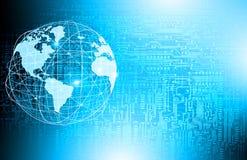 Het beste Concept van Internet globale zaken Bol, gloeiende lijnen op technologische achtergrond WiFi, stralen, symbolen Royalty-vrije Stock Foto
