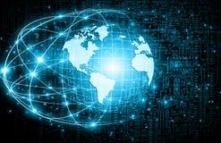 Het beste Concept van Internet globale zaken Bol, gloeiende lijnen op technologische achtergrond WiFi, stralen, symbolen Royalty-vrije Stock Afbeeldingen