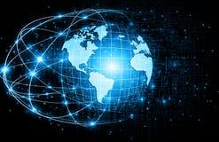Het beste Concept van Internet globale zaken Bol, gloeiende lijnen op technologische achtergrond WiFi, stralen, symbolen Stock Foto's