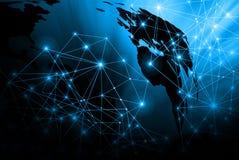 Het beste Concept van Internet globale zaken Technologische achtergrond, symbolen WiFi, van Internet, mobiele televisie, Stock Fotografie