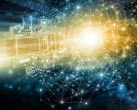 Het beste Concept van Internet globale zaken Technologische achtergrond, symbolen WiFi, van Internet, mobiele televisie, Stock Foto