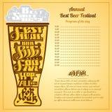 Het beste het bierschuim van de festival grote bar van letters voorzien op silhouet van glas Royalty-vrije Stock Foto