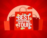 Het beste het winkelen malplaatje van het reisontwerp. Stock Afbeelding