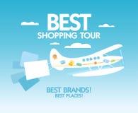 Het beste het winkelen malplaatje van het reisontwerp. Stock Foto's