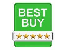 Het beste koopt embleem. Geïsoleerds op de witte achtergrond Stock Afbeeldingen