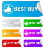 Het beste koopt, rechthoekige stickers royalty-vrije illustratie