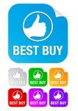Het beste koopt, regelt stickers stock illustratie