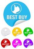 Het beste koopt, ronde stickers vector illustratie