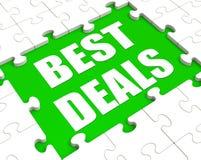 Het beste Overeenkomstenraadsel toont Groot Overeenkomstenbevordering of Koopje Royalty-vrije Stock Afbeeldingen
