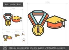 Het beste pictogram van de studentenlijn Stock Afbeeldingen
