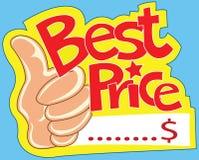 Het beste prijsetiket en toont duim vector illustratie