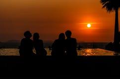 Silhouet van Liefde Stock Foto