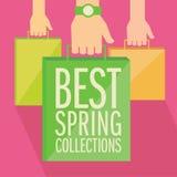 Het beste vlakke ontwerp van de lenteinzamelingen. Stock Fotografie