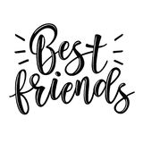 Het beste vrienden van letters voorzien stock illustratie