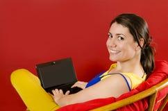 Het besteden Tijd op Laptop Stock Foto