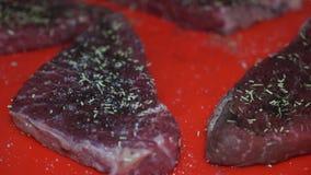 Het bestrooien van ruw lapje vlees met zout stock videobeelden