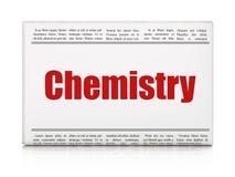 Het bestuderen van concept: de Chemie van de krantenkrantekop Royalty-vrije Stock Foto's